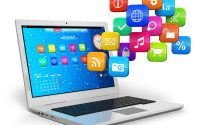 laptop con iconos de programas